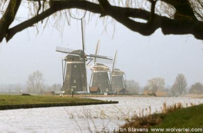 De beroemde molendriegang in buurtschap Wilsveen, onder het dorp Stompwijk, in de voormalige gem. Leidschendam. Al deze drie plaatsnamen kom je tegen in relatie tot deze molendriegang, maar geografisch ligt het dus in de buurtschap, dus plaats Wilsveen.