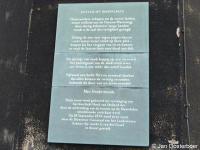Maasvlakte, gedicht van Max Dendermonde op de vuurtoren.