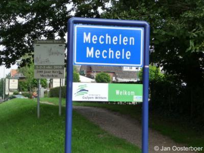 Mechelen, sinds 2009 staan de plaatsnamen in de gemeente Gulpen-Wittem ook in het Limburgs op de plaatsnaamborden