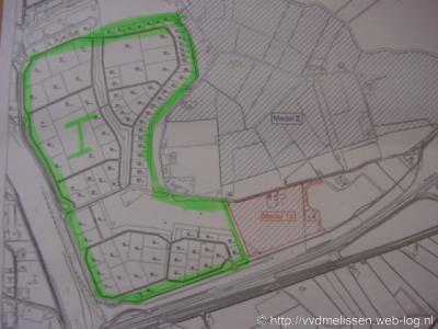 Medel (bedrijventerrein van Tiel, voorheen buurtschap). Het groen omlijnde deel is de eerste fase, de komende jaren worden ook de fasen Ia en II ontwikkeld.