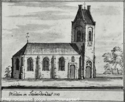 Miedum anno 1713. Van de kerk staat sinds 1834 alleen de toren nog overeind.