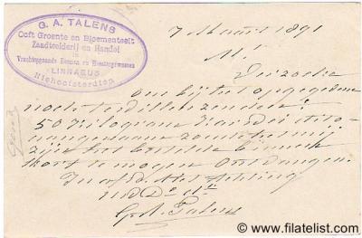 Niehove, briefkaart uit 1891 van een firma die zich betitelt als zijnde gevestigd te Niehoofsterdiep. Voor nadere toelichting zie bij Status.