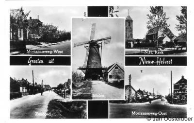 Nieuw-Helvoet, ansichtkaart met diverse dorpsgezichten
