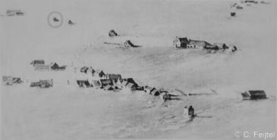 Nieuwerkerke Schutje (buurtschap van Kerkwerve) kort na de Watersnood van 1 februari 1953.
