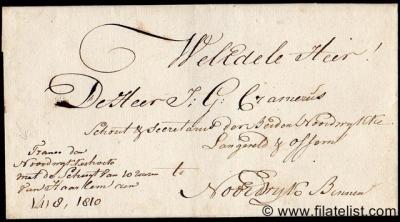 """Brief uit 1810, """"Franco van Noordwijkerhoek met de Schuyt van 10 uuren van Haarlem"""" naar de buurtschap Langeveld, die eveneens in de gemeente Noordwijk ligt (© René Hillesum Filatelie/www.filatelist.com)"""
