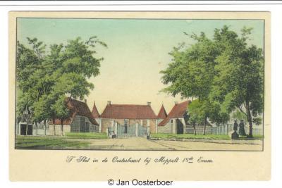 Oosterboer, ansicht uit ca. 1910 (?) met schilderij (door Hendrik Tavenier, 1786) van het voormalige slot in de voormalige buurtschap, thans wijk Oosterboer, uitg. J.A. Boom & Zn. te Meppel