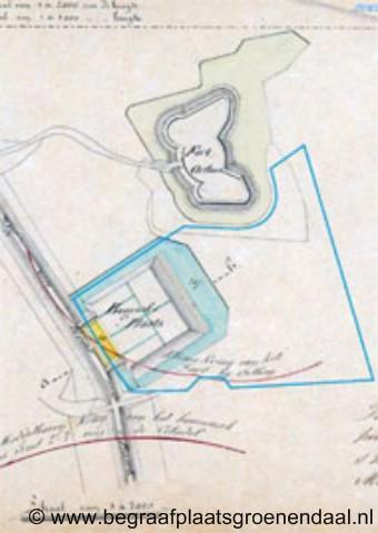 Orthen, plattegrond van Fort Orthen en begraafplaats Orthen anno 1865.