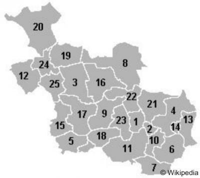 Overijssel, de ligging van de 25 gemeenten in de provincie. Voor de namen bij de nummers: zie het hoofdstuk Status.
