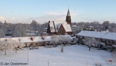 Rozenburg, winters uitzicht op de Immanuëlkerk (jan. 2010)