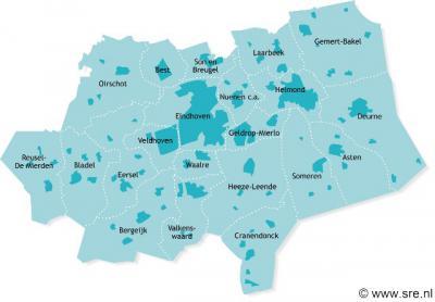 Kaart van het Samenwerkingsverband Regio Eindhoven (SRE), een verband van 21 gemeenten in Zuidoost-Brabant.