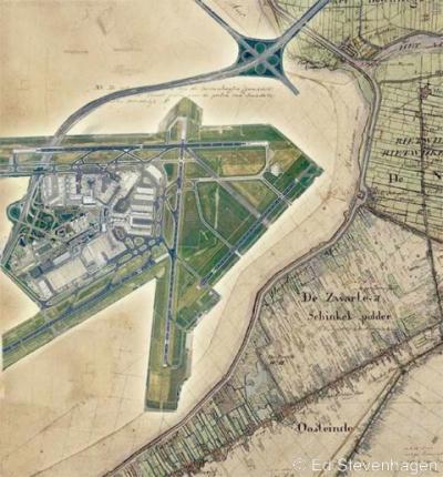 Schiphol, gemonteerd in een kaart van de Haarlemmermeer e.o. uit ca. 1840.