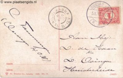 Adreszijde van ansichtkaart die in 1910 is verstuurd van Oudega (Gaasterland) naar Huisterheide. Een geluk dat wij deze op een ansichtkaartenbeurs aantroffen, want naar deze kleine buurtschap zal in die tijd niet veel post zijn verstuurd.