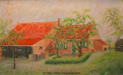 Snabbeldorp, schilderij van een van de voormalige boerderijen in de buurtschap. De boerderij bestaat niet meer: deze was bij de inundatie van Walcheren in 1944 zo zwaar beschadigd dat deze niet meer is herbouwd.