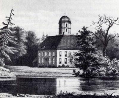 Terheijl, tekening van de oude Havezate Terheijl door Jan Reijnders (1823-1889). Het exacte jaar van de tekening is onbekend, maar deze dateert in ieder geval van vóór 1853.