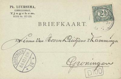 Tjuchem werd, zoals op deze briefkaart is te zien, rond 1900 (ook) als Tjugchem gespeld.