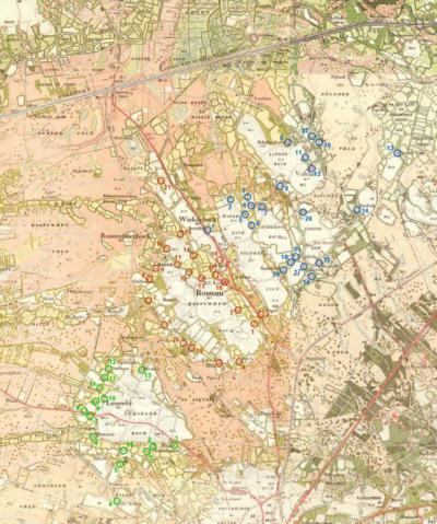 Kaart gemaakt door Frank Steggink, waarop aangegeven de boerderijen van Volthe, Rossum en Lemselo die in ieder geval in 1475 al bestonden. Voor de toelichting erbij zie http://www.steggink.org/volthe/schat_legend.txt.