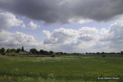 Uitzicht tegenover Slot Well, over de uiterwaarden van de Maas