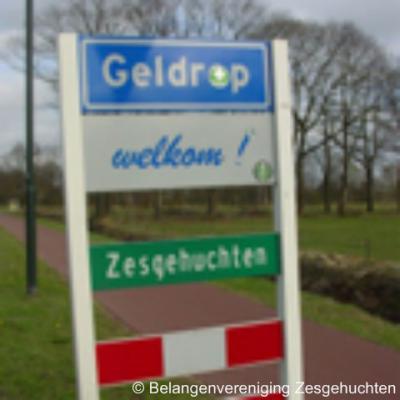 De naam van de voormalige gemeente Zesgehuchten leeft nog voort in de gelijknamige wijk in Geldrop, die ter plekke met groene naambordjes wordt aangegeven.