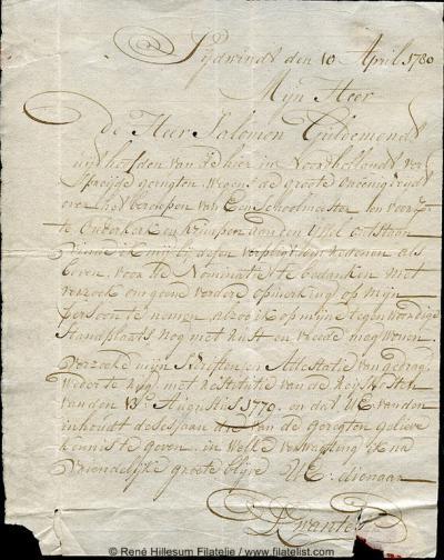 Zijdewind heeft diverse spellingen gekend. In deze brief uit 1780 gebruikt een inwoner de 'zeldzame' spelling Sijdwindt. Doorgaans werd deze naam in die tijd namelijk zonder t aan het eind geschreven.