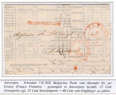 Poststuk met grenskantoorstempel Groot-Zundert uit 1835. Dit stempel is slechts in gebruik geweest van december 1834 tot 1 januari 1837. Voor nadere toelichting zie Geschiedenis > Postale gegevens. (collectie Peter Heck)