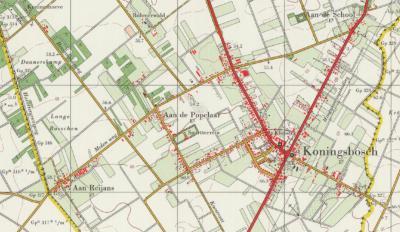 Buurtschap Aan de Popelaar, gelegen NW van de dorpskern van Koningsbosch, heeft van ca. 1925 tot ca. 1990 op de kaarten gestaan. (© www.kadaster.nl)