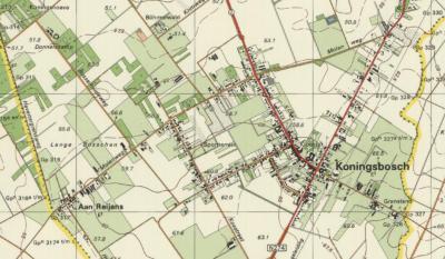 Ca. 1990: buurtschap Aan de Popelaar is zomaar van de kaart verdwenen. Ten onrechte, want de bebouwing is er nog gewoon. De oplettende kijker ziet dat buurtschap Aan de School, NO van Koningsbosch, hetzelfde lot is overkomen. Aan Reijans staat er nog wél