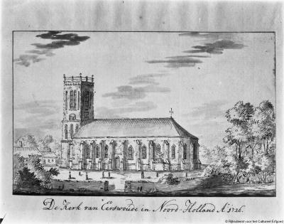 Aartswoud, de oorspronkelijke, in 1884 afgebroken Hervormde kerk, anno 1726