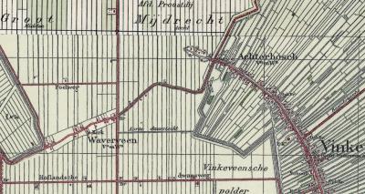 Kaart uit ca. 1930. De plaatsnaam Proostdij is verdwenen. Op die plek staat nu de plaatsnaam Achterbos. Kennelijk wordt het geheel van de buurtschappen Achterbos en Proostdij sindsdien Achterbos genoemd.