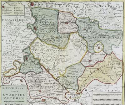 Kaart van het 'Kwartier Zutphen' anno 1757 (dat toen een groot deel van de huidige Achterhoek besloeg), door Isaak Tirion