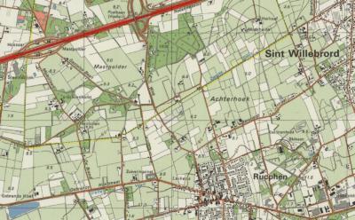 Ook op deze kaart uit ca. 1990 zijn beide los van elkaar gelegen buurtschappen Achterhoek goed te zien, met de geel gekleurde grens tussen de gemeenten Hoeven en Rucphen. Helaas is de plaatsnaam Achterhoek voor de W buurtschap van de kaart verdwenen.