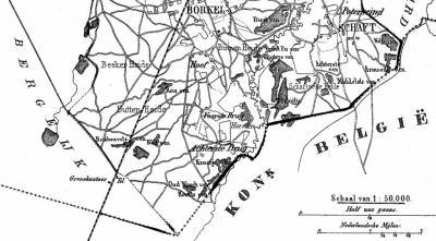 Op deze uitsnede van de kaart van de gemeente Borkel en Schaft, van J. Kuijper uit ca. 1865, is goed te zien dat 'Achterste Brug en Voorste Brug' het allerzuidelijkste plaatsje is van die voormalige gemeente (en van de tegenwoordige gem. Valkenswaard).