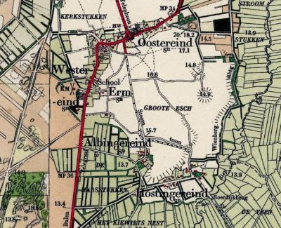 Wat nu Achterste Erm is, verschijnt met die naam pas vanaf ca. 1960 in de atlassen. Tot ca. 1930 staan daar de plaatsnamen Albingereind voor de bebouwing aan het N, nu doodlopende zijweggetje, en Hostingereind voor de hoofdweg door de buurtschap.