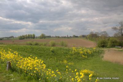 Een blik vanaf de Lekdijk over de prachtige Achthovense Uiterwaarden in buurtschap Achthoven tussen Ameide en Lexmond in de streek de Vijfheerenlanden.