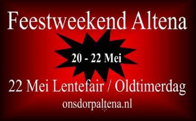 In mei is er altijd een heel weekend feest in Altena, met o.a. kermis, oriënteringsrit, hooivorkdarten, feestavond, oldtimerdag en lentefair.