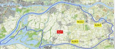 De nieuwe gemeente Altena, die in 2019 is ontstaan, vormt een mooie 'waard': rondom omgeven door waterlopen, vergelijkbaar met de Bommelerwaard O ervan. (© gemeente Altena)