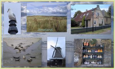 Mooie collage van bijzonderheden die je zoal op Ameland kunt tegenkomen (© Jan Dijkstra, Houten)