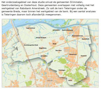 Kaart uit het rapport 'Samen werken aan een duurzame Amerstreek' (2012), waarop de streek mooi wordt weergegeven. (© www.rabobank.nl/lokale-bank/amerstreek)