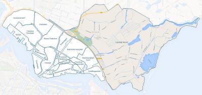 Het gekleurde deel op deze kaart, plus linksonder ervan Schellingwoude, is wat in Amsterdam bekend staat als 'Landelijk Noord', oftewel het landelijke, Waterlandse deel van de gemeente Amsterdam. (© Ruud Slagboom/www.geschiedenis-van-amsterdam-noord.nl)