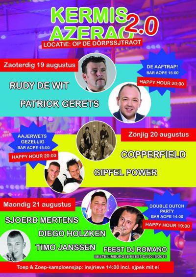 De inwoners van het dorp Asenray, in het Limburgs Azerao, houden wel van een feestje. Niet alleen met carnaval, ook tijdens de kermis (weekend in augustus) gaat het dak eraf. Kijk maar op deze poster van de kermis 2017 wat er toen zoal te doen was.