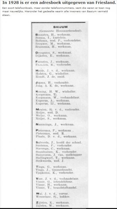 In een Fries adresboek uit 1928 stonden o.a. alle inwoners van Baaium in dat jaar. Hier staan ze op een rijtje. (© www.baaium.nl)