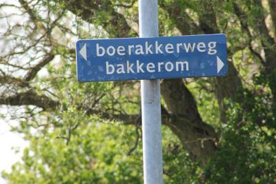 De buurtschap Bakkerom heeft geen plaatsnaambordjes, zodat je slechts aan de gelijknamige straatnaambordjes kunt zien dat je er bent aangekomen