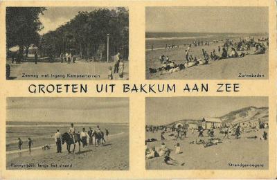 W van Bakkum ligt het badplaatsje Bakkum aan Zee (hier op een prentbriefkaart uit vermoedelijk jaren dertig), tegenwoordig vaak ook foutief Castricum aan Zee genoemd (hoe dat zit kun je lezen onder het kopje Naam).