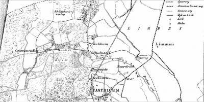 Op deze gemeentekaart van Castricum, uit 1867, is goed te zien dat de huidige dorpskern van Bakkum en de buurtschap Noord-Bakkum dan nog niet bestaan, en dat de in dat jaar net gereedgekomen spoorlijn Alkmaar-Uitgeest de buurtschap Schulpstet doorsnijdt.