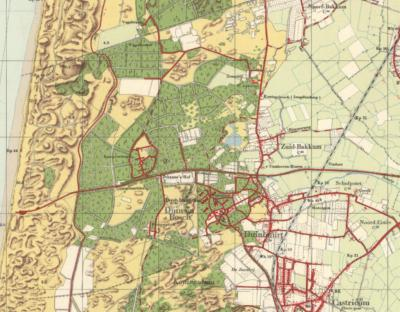 Rond 1900 ontstaat in het N de buurtschap/plaatsnaam Noord-Bakkum, waardoor men het oude dorp Bakkum Zuid-Bakkum gaat noemen. Het huidige dorp Bakkum bestaat dan nog niet; het buurtje aldaar heet vanouds Duinbuurt. (© Kadaster)