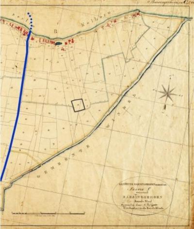 Barsingerhorn, kadasterkaart 1820, met de kerk aan de dijk, de Kruisakker en de loop van de voormalige rivier de Leek (© www.huisvanhilde.nl)