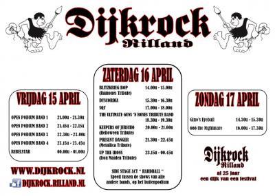 Popfestival Dijkrock in Bath bij Rilland heeft in 2016 het 25-jarig bestaan gevierd