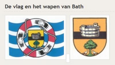 Vlag en wapen van Bath. De badkuip is een sprekend symbool. De boom met de duiven (de duiven van Noach bij de olijfboom) staat symbool voor de stichting van het dorp in de drooggemalen Polder Reigersberg.