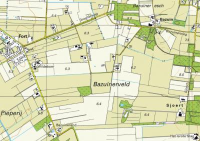 Vandaag de dag ziet het Bazuinerveld er heel anders uit; het gebied is rationeel verkaveld t.b.v. de landbouw, en boerderij Bazuinerend ligt nu aan de Meeuwenweg en wordt nu als behorend tot de ZO uitloper van het dorp Fort beschouwd. (© Kadaster)