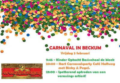Ook carnaval vieren kun je wel aan de Beckumers toevertrouwen. Beckumers met een m inderdaad. Waarom dat zo is, kun je lezen onder het kopje Naam.