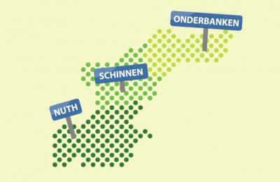 Gestileerde weergave van de nieuwe gemeente Beekdaelen, in 2019 ontstaan uit samenvoeging van de gemeenten Onderbanken, Schinnen en Nuth. Hier zie je hoe de nieuwe gemeente is samengesteld uit grondgebied van de fusiepartners. (© gem. Beekdaelen)